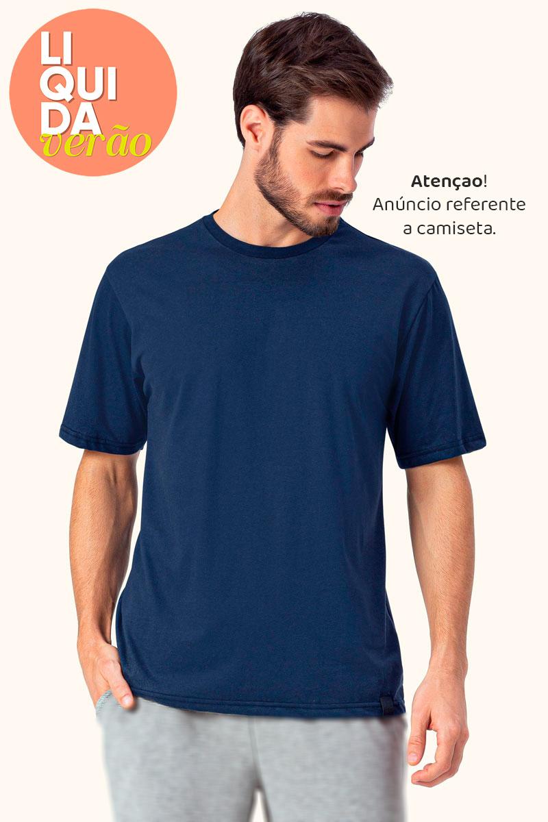 Blusa Manga Curta Azul Marinho